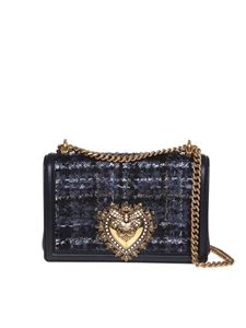 Dolce & Gabbana - Devotion medium bag in tweed and nappa leather