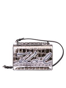 Karl Lagerfeld - Small K Signature shoulder bag in silver color