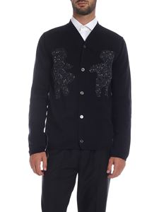 Comme Des Garçons Shirt  - Cardigan in blue with gray inlays