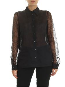 N° 21 - Lace and silk shirt in black