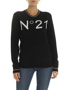 N° 21 - Black pullover with white logo intarsia