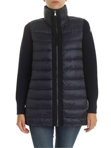 Moncler - Blue cardigan with quilted down insert