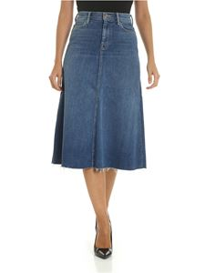 Mother - The Circle Midi Fray skirt in blue