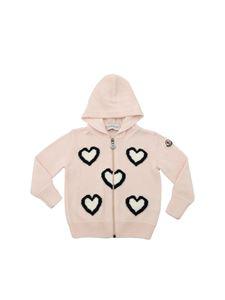 Moncler Jr - Pink cardigan with black and white hearts intarsia
