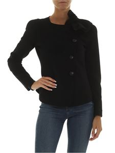Emporio Armani - Black jacket with ruffles detail