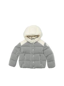 Moncler Jr - Chouette down jacket in silver lamé and white