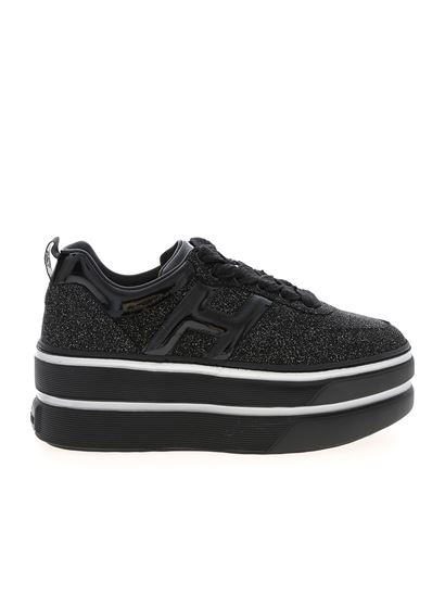 Hogan Spring Summer 2020 h449 sneakers in black with glitter ...