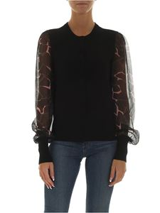 Emporio Armani - Black cardigan with semitransparent sleeves