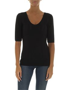 Emporio Armani - Black t-shirt in textured fabric