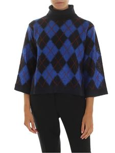 PS by Paul Smith - Dark blue turtleneck with diamonds pattern