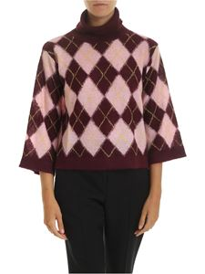 PS by Paul Smith - Turtleneck in wine color with diamonds pattern