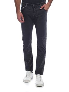 Jacob Cohën - Trousers in gray delavè with calf hair logo