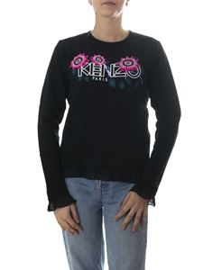 Kenzo - Sweatshirt in black with floral Kenzo embroidery