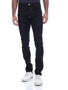 Philipp Plein - Jeans nero effetto destroyed