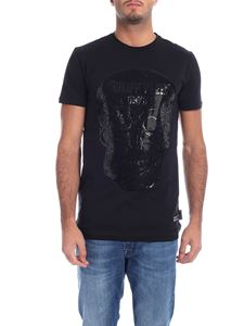 Philipp Plein - T-shirt nera con teschio in strass