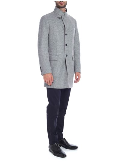 Fay - Single-breasted coat in gray with Fay hook