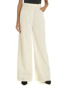 M Missoni - Straight leg corduroy trousers in ivory color
