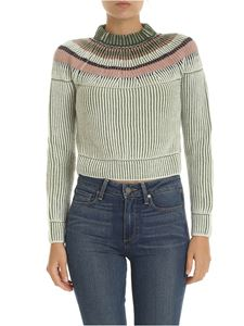M Missoni - Raglan sleeve pullover in green and white