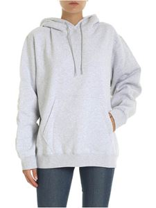 MSGM - Hoodie in gray with logo on the hood
