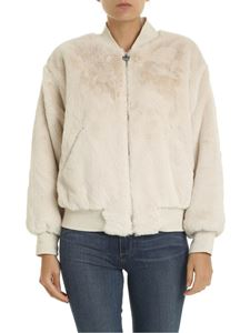 Chiara Ferragni - Eco fur bomber jacket in ivory color