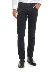 Jacob Cohën - Pantalone blu scuro e nero motivo mini quadri