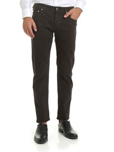 Jacob Cohën - Micro checked trousers in dark brown