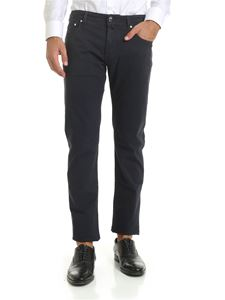 Jacob Cohën - Micro checked trousers in blue and black
