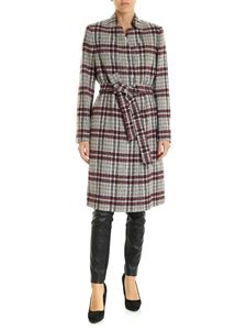 Peserico - Beige coat with checked pattern