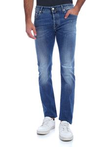 Jacob Cohën - Light blue jeans with green logo label