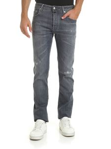 Jacob Cohën - Leather label jeans in gray
