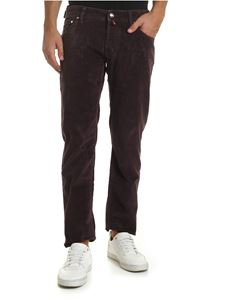 Jacob Cohën - Dark purple trousers with burgundy label