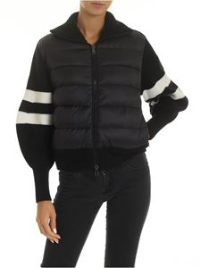 Moncler - Black cardigan with down jacket detail