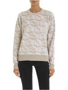 Ballantyne - Beige crew-neck pullover with B inlays