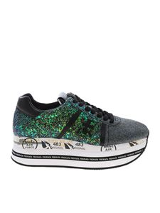 Premiata - Beth sneakers with green and silver glitter