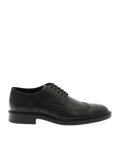 Tod's - Black leather derby with logo