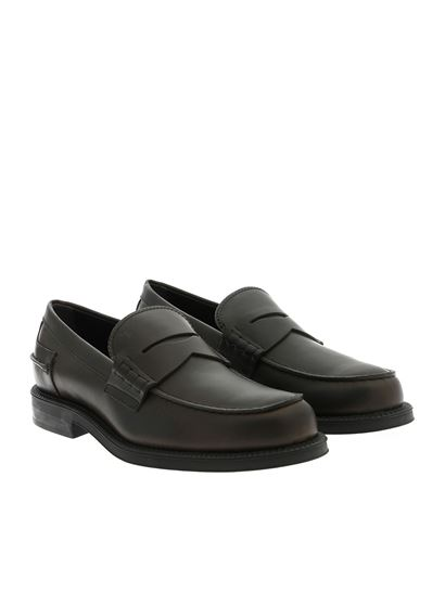 Tod's - Loafers in brown leather with penny bar