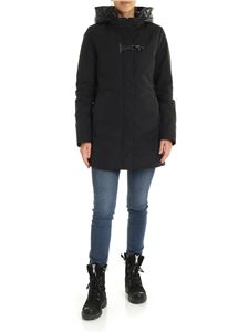 Fay - Black down jacket with hood and Fay hook