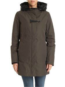 Fay - Army green down jacket with hood and Fay hook