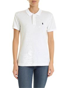 POLO Ralph Lauren - White polo shirt with transparent micro sequins