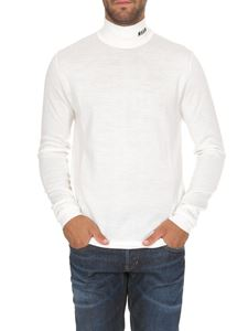 MSGM - White high neck sweater with MSGM embroidery