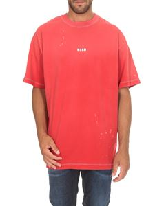 MSGM - T-shirt oversize rosso washed