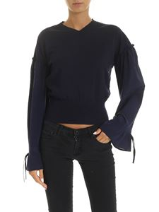 Ballantyne - V-neck sweater in blue with puffed sleeves