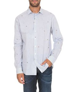 Etro - Striped shirt in light blue with bees