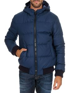 Herno - Down jacket in blue with elastic knit details