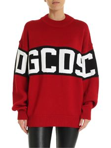 GCDS - Red pullover with GCDS embroidery