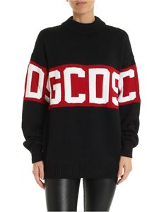 GCDS - Black pullover with GCDS embroidery