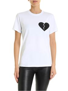 MSGM - White T-shirt with broken heart patch