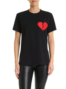 MSGM - Black T-shirt with broken heart patch