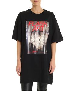 MSGM - Black T-shirt with Flash Art print