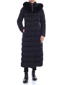 Herno - Black long down jacket with tone on tone fur